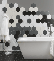 Image for Hexagon Grey 175mm x 202mm Multi-Use Tile 37 Per Pack - BCT48435