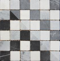 Image for Mosaics Shades of Grey Buxton Marble Black and White Sheet 302mm x 302mm Multi-Use Tile 11 Per Pack - BCT10357