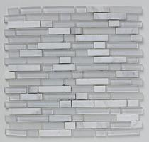 Image for Mosaics Shades of Grey White Linear Glass Stone Mix Mosaic 305mm x 305mm Wall Tile 10 Per Pack - BCT38368