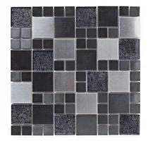 Image for Mosaics Shades of Grey Metal and Foil Glass Black Mix Mosaic 298mm x 298mm Wall Tile 10 Per Pack - BCT38382