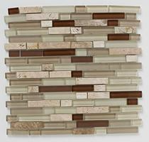 Image for Mosaics Naturals Natural Linear Glass Stone Mix Mosaic 300mm x 300mm Wall Tile 10 Per Pack - BCT38542