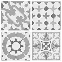 Image for Parian Set of 12 Grey Decors 4 Designs 142mm x 142mm Multi-Use Tile 12 Per Pack - BCT41955
