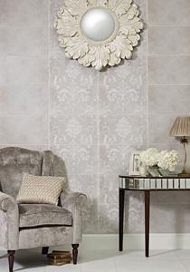 Image for Laura Ashley Josette Dove Grey Decor Part A 298mm x 498mm Wall Tile 6 Per Pack - LA51607