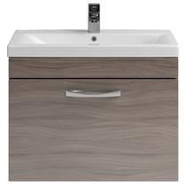 Image for Premier Shipton Wall Hung 1-Drawer Vanity Unit with Basin 600mm Wide - Driftwood 1 Tap Hole