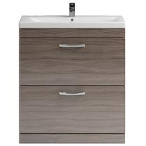 Image for Premier Shipton Floor Standing 2-Drawer Vanity Unit with Basin 800mm Wide - Driftwood 1 Tap Hole