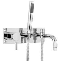 Image for Hudson Reed Tec Single Lever 3-Hole Bath Shower Mixer Tap Wall Mounted - Chrome