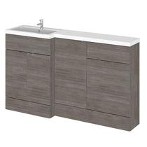 Image for Hudson Reed Left Handed Combination Unit with 500mm WC Unit - 1502mm Wide - Grey Avola 1 Tap Hole