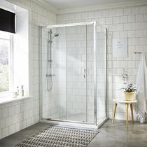 Image for Premier Ella Sliding Shower Door 1000mm Wide - 5mm Glass Chrome