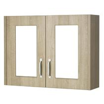 Image for Premier York 2 Door Mirror Cabinet, 800mm Wide, Gladstone Oak