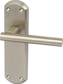 Image for Varthen Lever Handles With Backplates For Latch Zinc Alloy Satin Nickel (Pair)