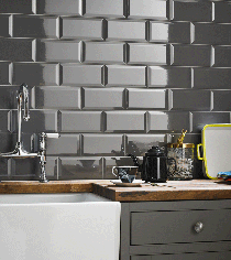 Image for Grey Kitchen Wall Tile Beveled Metro Field 100mm x 200mm 50 Per Pack - K000472