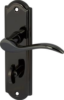 Image for Sywell Lever Handles With Backplates For Bathroom Lock Zinc Alloy Black