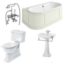 Image for Burlington Complete Bathroom Suite, 1800mm x 950mm Back-to-Wall Bath, Sand