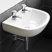 RAK Compact Special Needs 500mm Wall Hung Basin 2 Tap Hole