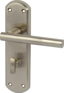 Image for Varthen Lever Handles With Backplates For Bathroom Lock Zinc Alloy Satin Nickel (Pair)