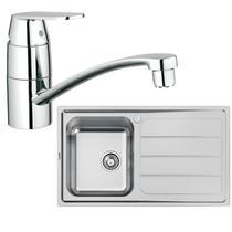 Image Of Grohe 122444 Eurosmart Cosmopolitan Kitchen Tap & Foster Elettra 1.0 Sink Bowl, Reversible