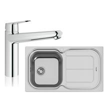 Image Of Grohe Eurodisc Cosmopolitan Tap & Moon 1.0 Bowl Sink Reversible 122450