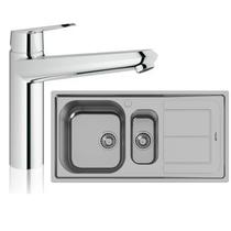 Image Of Grohe Eurodisc Cosmopolitan Tap and Foster Moon Sink 1.5 RH Drainer