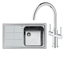 Image Of Grohe Ambi Cosmopolitan Kitchen Tap and Foster S3000 Sink RH Drainer