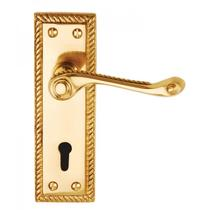 Image for Dale Hardware Georgian Polished Brass Budget Lever Lock On Backplate (Pair)