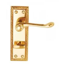Image for Dale Hardware Georgian Suite Polished Brass Bathroom Lever On Backplate (Pair)