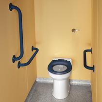 Image for Twyford Doc M Rimless Ambulant Btw Pack , Blue Grab Rails & Seat