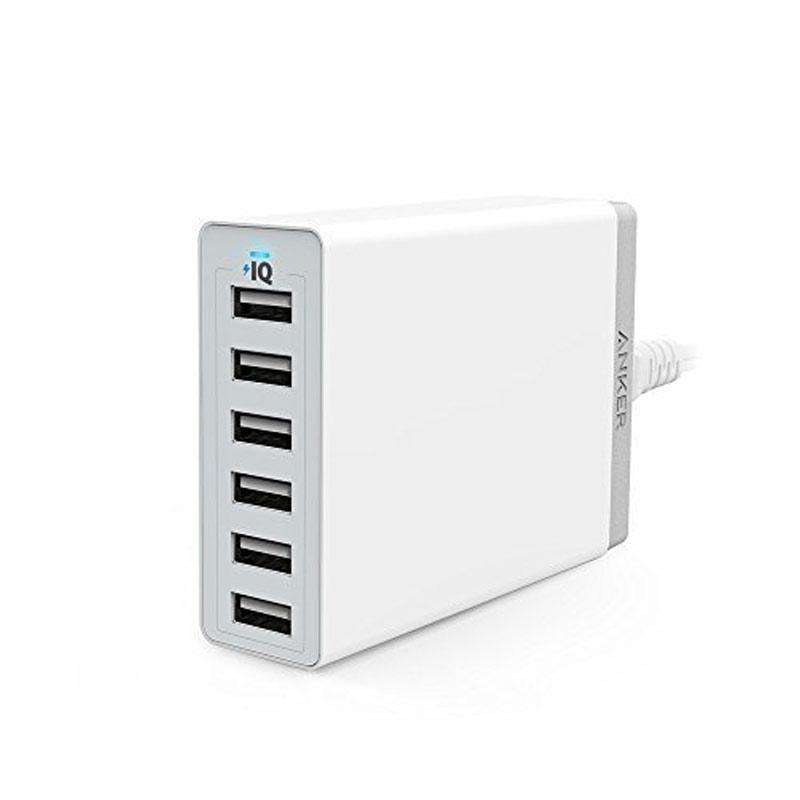 Anker PowerPort 6 2.4A USB Desktop Charger - White