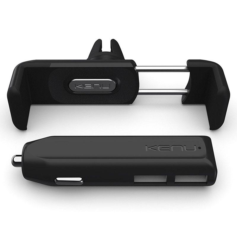 Kenu Airframe+ Car Holder and Multi USB Charger Kit - Black