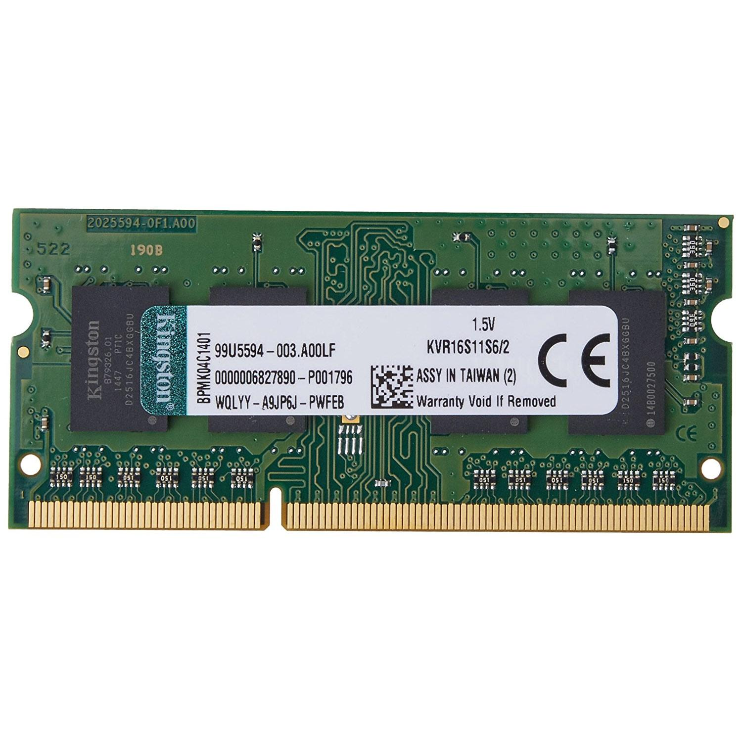Kingston KVR 2GB 1600MHz DDR3 Non-ECC 204 Pin CL11 SO-DIMM Laptop Memory Module
