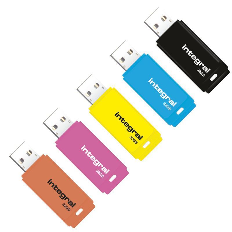 Integral 32GB Neon USB Flash Drive Multi-Coloured - 5 Pack