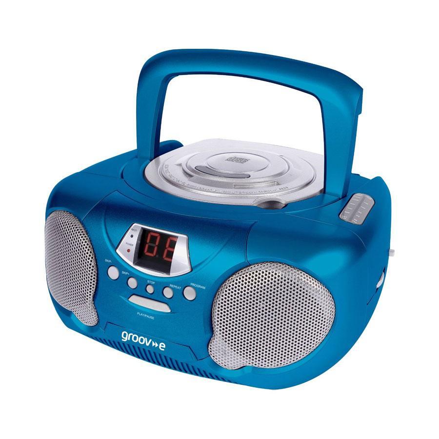 groov e boombox tragbarer cd player mit radio blau 28 13. Black Bedroom Furniture Sets. Home Design Ideas