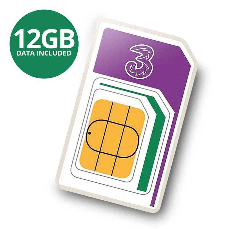 3 PAYG 4G Trio Data SIM Packet, voraufgeladen mit 12GB