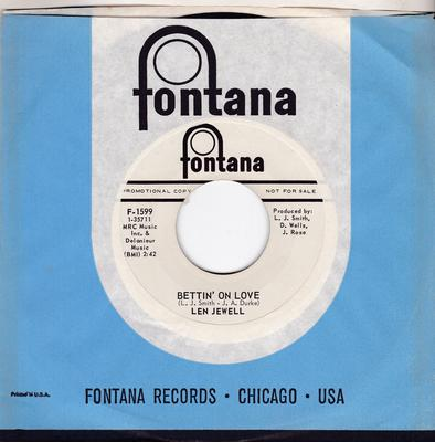 Len Jewell - Bettin' On Love / Paint Me - Fontana F-1599 DJ
