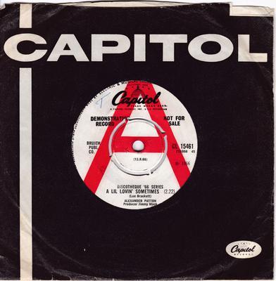 Alexander Patton - A Lil Lovin' Sometimes / No More Dreams - Capitol CL 15461 DJ