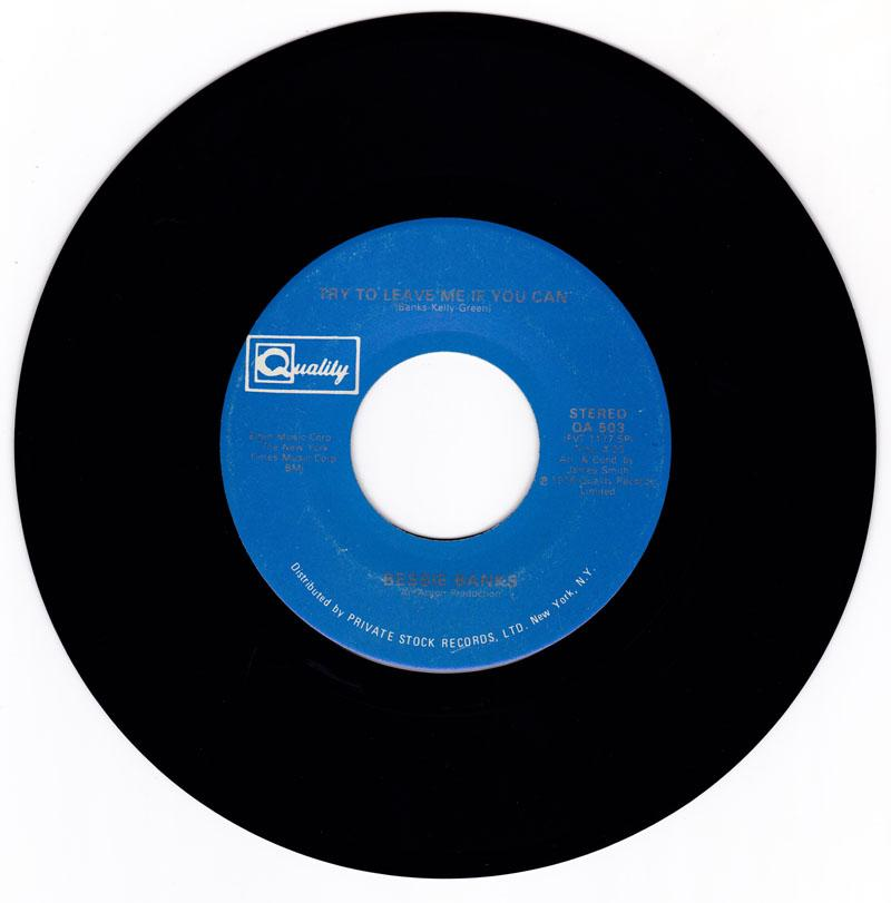 Bessie Banks - Don't You Worry Baby The Best Is Yet To Come / Try To Leave Me If You Can - Quality QA 593