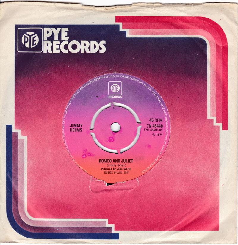 Jimmy Helms - Romeo And Juliet / Ragtime Girl - Pye 7N 45440