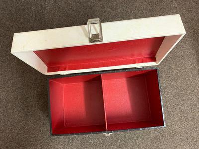 Vintage Record Carry Case - Black & White Crocodile skin textured finish 2 lane 45 case / stitched seams grey and white, RED textured lining - Record Box 2 lane 50's