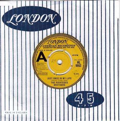 Righteous Brothers - Just Once In My Life / The Blues - UK London DEMO