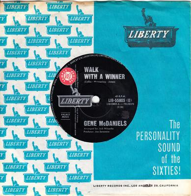 Gene McDaniels - Walk With a Winner / A Miracle - Liberty LIB 55805 Australia