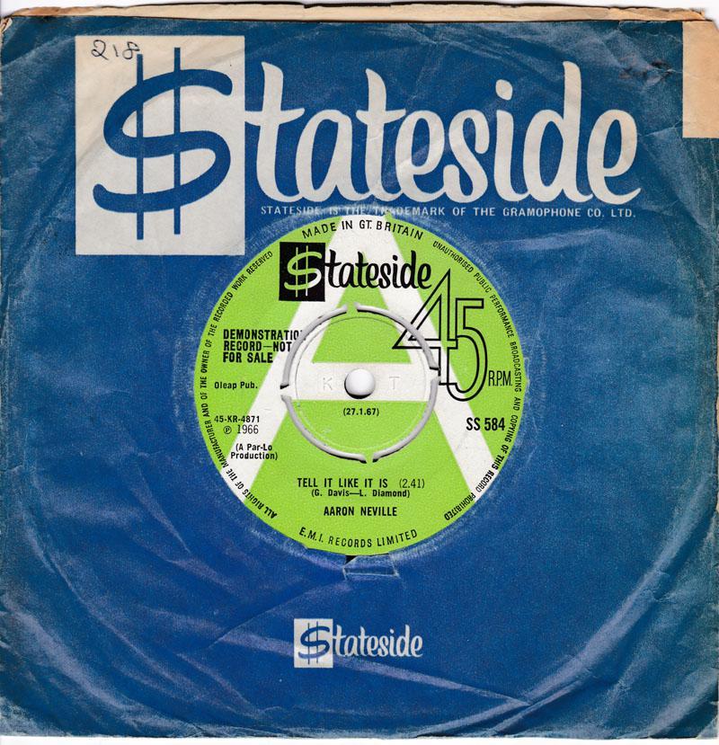 Aaron Neville - Tell It Like It Is / Why Worry - Stateside SS 584 DJ