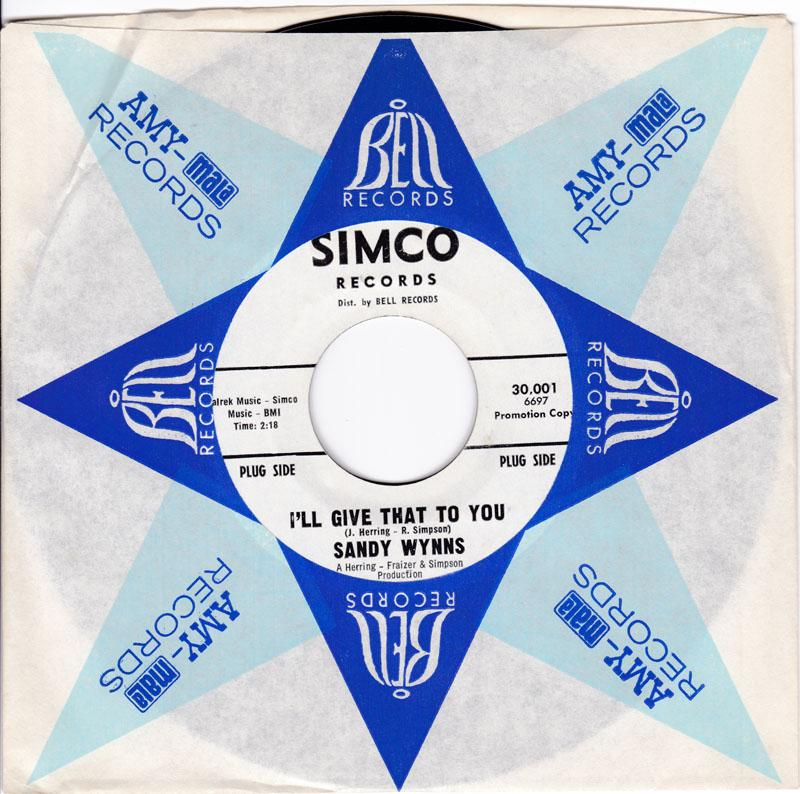 Sandy Wynns - I'll Give That To You / You Turned Your Back On Me - Simco promo