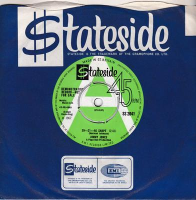 Jimmy Jones - 39 - 21 - 46 Shape / Personnal Property - Stateside SS 2041 DJ
