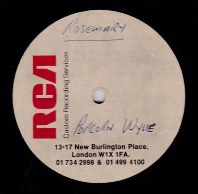 "Richard ""Popcorn"" Wylie - Rosemary What Happened / blank - RCA 10"" acetate"