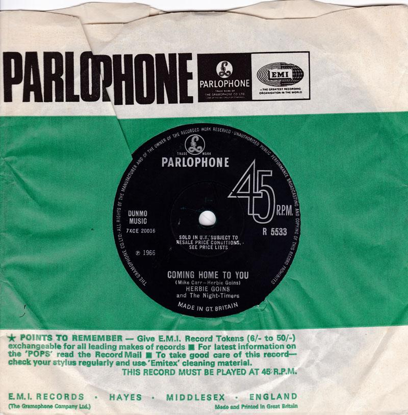 Herbie Goins and The Night-Timers - Coming Home To You / The Incredible Miss Brown - Parlophone R 5533