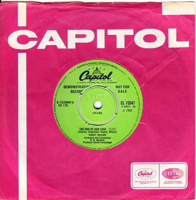 Nancy Wilson - The End Of Our Love / Face it Girl It's Over - Capitol CL 15547 DJ
