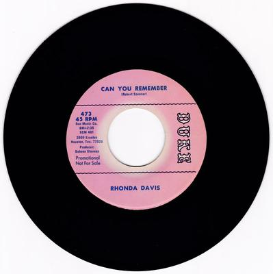Rhonda Davis - Can You Remember / Long Walk On A Short Pier - Duke 473 DJ