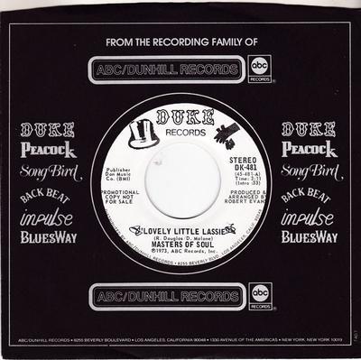 Masters Of Soul - Lovely Little Lassie / same: 3:11 mono version - Duke DK 481 DJ