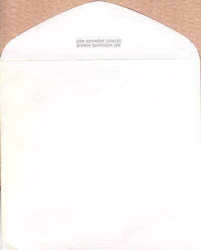 2457 Woodward Avenue, Detroit Envelope/ Genuine 60s Motown Envelopes