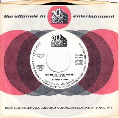 Jeanette Harper - Put Me In Your Pocket / To Be Loved - 20th. Century Fox 6683 DJ