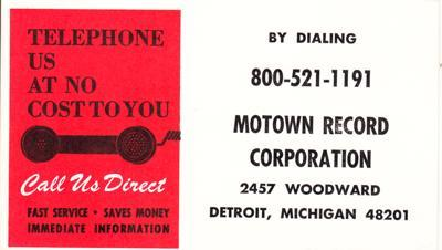 Image for Motown Record Corporation 800 Telephone/ 800-521-1191 Call Free Card